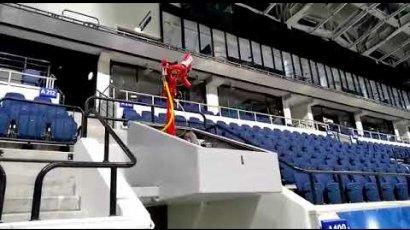 применение роботизированной установки пожаротешения на стадионе
